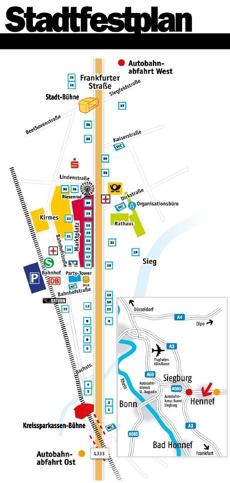 Stadtfestplan vom Stadtfest Hennef 2019